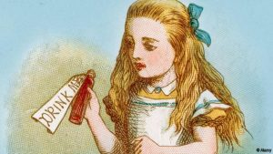 Alice with the bottle labelled Drink Me, from the Lewis Carroll Story Alice in Wonderland, Illustration by Sir John Tenniel 1871
